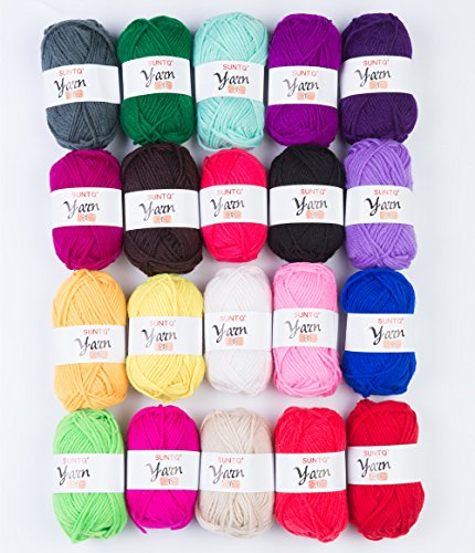 Worsted Knitting Yarn (SUNTQ 100% Acrylic Yarn 20 x 50yard (total about 1000 yards) Skeins Bonbons Yarn Assorted Colors for Crochet & Knitting Assorted Rainbow Variety Colored Assortment)