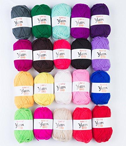 SUNTQ 100% Acrylic Yarn 20 x 50yard