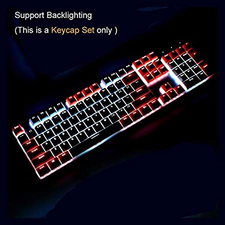Color : Pink White HUOGUOYIN Gaming Keyboard Keycaps for Mechanical Keyboard Double Shot Pink White Combo Support Backlit US Standard 104 Keys Keycap with Key Puller Keyboard