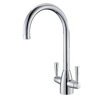 vapsint designer modern chrome finish double handle swivel spout kitchen sink mixer taps solid brass. Interior Design Ideas. Home Design Ideas