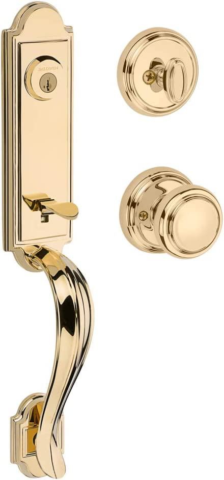 Baldwin Avendale Single Cylinder Front Door Handleset Featuring SmartKey Security in Polished Brass, Prestige Series with Traditional Door Hardware and Alcott Knob