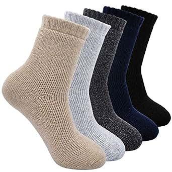 Calcetines de Lana Cálidos de Confort Casual de Hombre de Invierno,Calcetines Termicos Gruesa Suave Cómodo, 5 pares