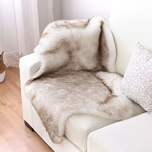 Nordmiex Faux Fur Sheepskin Rug - Deluxe Soft Faux Sheepskin Chair Cover, Seat Cushion Pad Plush Fur Area Rugs for Bedroom Sofa Floor, 2ft x 3ft(White with Brown Tips)