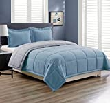 3 piece Luxury Spa Blue / Grey Reversible Goose Down Alternative Comforter set, Full / Queen with Corner Tab Duvet Insert