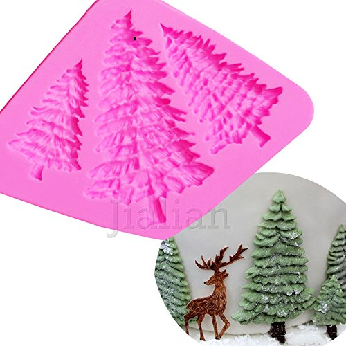 3 Hole Christmas Tree Shaped Silicone Mold Cake Decoration Fondant Cookies Tools 3D Silicone Mould Gumpaste Candy T0972 (Tree Christmas Carving Soap)