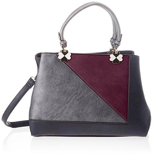 Swankyswans Violet Color Block Handbag - Bolsos totes Mujer Negro (Black)