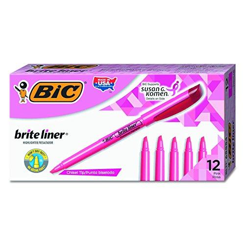 BIC Brite Liner Highlighter, Chisel Tip, Pink, 12-Count