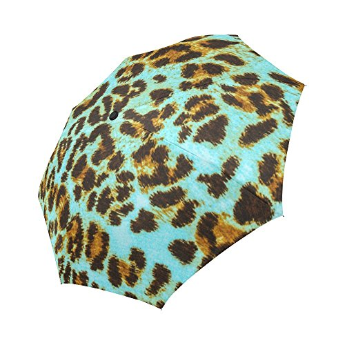 InterestPrint Custom Automatic Foldable Umbrella Green Leopard Compact Folding Umbrellas with Anti-Slip Rubberized Grip For Women Men Kids