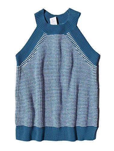 - Ann Taylor LOFT Women's - Teal Blue Striped Halter Sweater Tank Top (X-Large)
