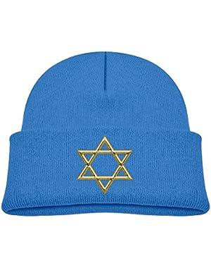 Kids Humor Golden Star Of David Graphic Casual Flexible Winter Knit Hats/Ski Cap/Beanie/Skully Hat Cap