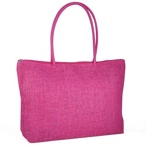 Gleader Donna borsa di paglia brosa Shopping Bag-In viaggio con zip borsa  di spiaggia ...