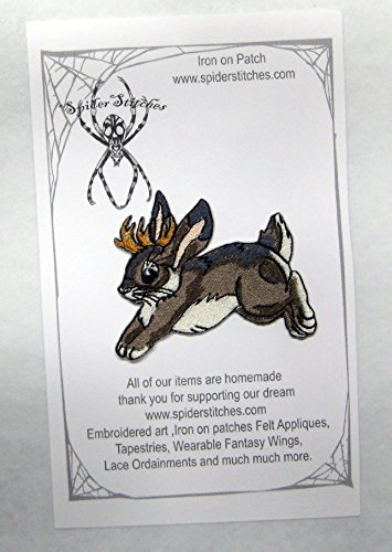 Cute Hopping Jackalope Iron on Patch Rabbit with Antlers (Homemade Rabbit Costume)