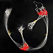 Fishing Wire Leader Rigs Trace 12pcs Stainless Steel Fishing Rigs Tackle Lure with Swivels Snaps Beads, High-S