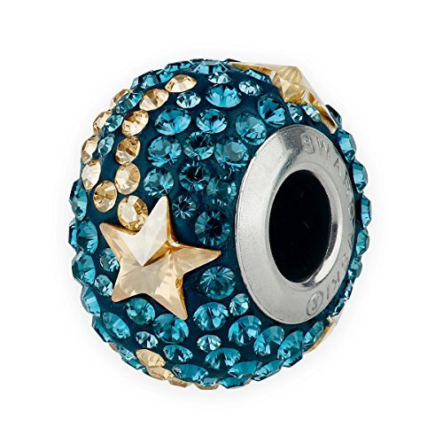 Swarovski BeCharmed Pave Shooting Star Bead 14mm (Pandora style bead) (Montana Blue/Crystal Golden Shadow)