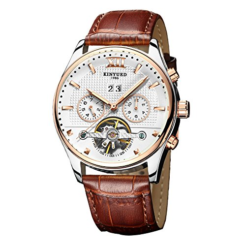 KINYUED J010 Men's Multifunctional Automatic Mechanics Wrist Watch with Italy Genuine Leather Band
