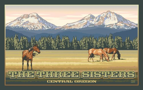 Northwest Art Mall The Three Sisters Central Oregon Mountains and Horses Unframed Prints by Paul B Leighton, 11-Inch by 17-Inch