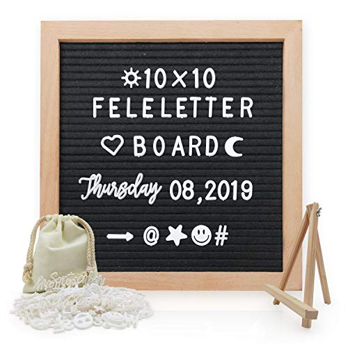 Convallaria Black Felt Letter Board-Pre Cut & Sort 218 Letters,10x10 Black Changeable Wooden Frame letterboard, Wall&Tabletop Display,Message Board Sign,Letter Signs