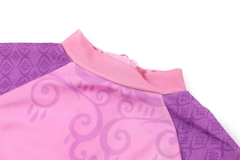 Sun Protection 2-7Y Minin Girls Princess Back Zipper Swimsuits Short Sleeve Rash Guard Swimwear Set with UPF 50