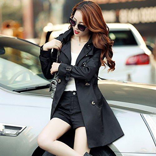 largo botonadura temperamento Slim Negro doble chaqueta cintura Mayihang niñas anorak Slim axWw5B
