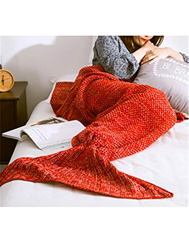 anket Handmade Knitted Sleeping Wrap TV Sofa Mermaid Tail Blanket Kids Adult Baby Crocheted Bag Bedding Throws Bag Red 70X140CM ()