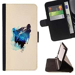 KingStore / Leather Etui en cuir / Samsung Galaxy S4 Mini i9190 / Montaña y del aullido del lobo