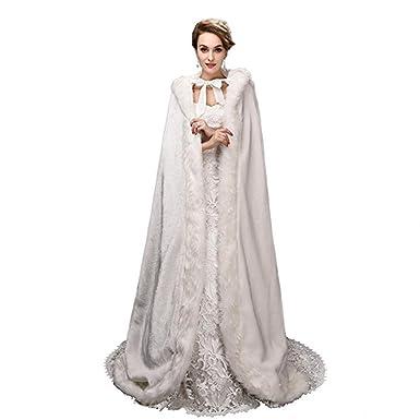953aa747b Noriviiq Winter Womens Foor Length Ivory Faux Fur Wedding Cloak With ...