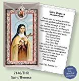 Rosarybeads4u St Saint Therese Theresa Silver Foil Etched Verse Prayer Card & Medal Pendant