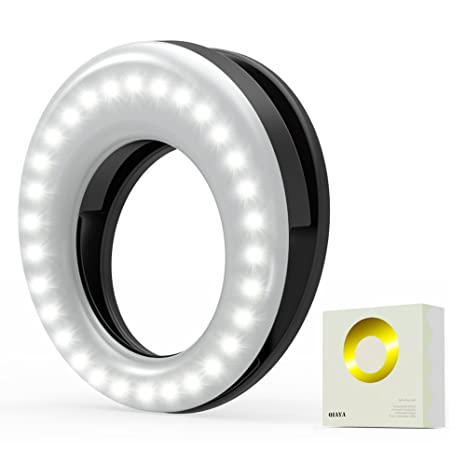 Clip On Ring Light for Camera [Rechargable Battery] Selfie LED Camera Light with 36 LED for Smart Phone Camera Round Shape, Black Light Bulbs at amazon
