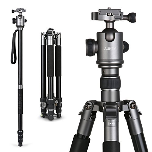 AUKEY Camera Tripod, 67″ Aluminum Professional Travel Tripod for DSLR with 360° Panorama Ball Head, Two 1/4″ Quick Release Plates for Canon Nikon Sony