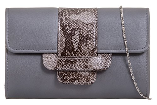 Flap Skin Girly Girly HandBags Bag Clutch Grey HandBags Snake Snake Skin nqO6Cw16