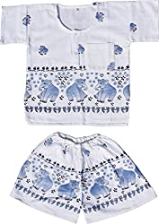 RaanPahMuang Thai Cotton Childs Elephant Print Shirt and Shorts Pijama Outfit, Medium, White Blue