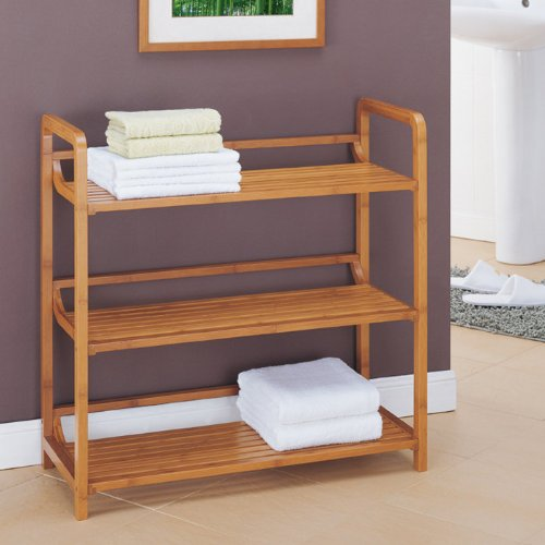 Organize It All 3 Tier Free Standing Bathroom Storage Shelf, Natural Bamboo