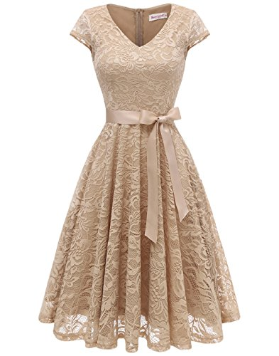 - BeryLove Women's Floral Lace Short Bridesmaid Dress Cap Sleeve Cocktail Party Dress V Neck BLP7006Champagne M