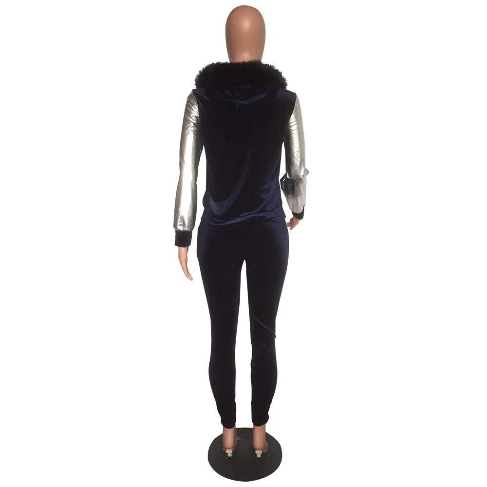 Womens 2 Piece Outfits Tracksuit - Sequin Velvet Hoodie Pullover Top Long Pants Suit Jumpsuits Sweatsuits Navy Blue 2X-Large