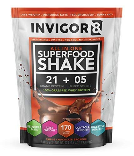 INVIGOR8 Superfood Shake Gluten-Free and Non GMO Meal Replacement Grass-Fed Whey Protein Shake with Probiotics and Omega 3 (645g) (Pouches (12-pk) Chocolate Brownie) (2 Pack Chocolate (Save 15)) by BRL (Image #2)