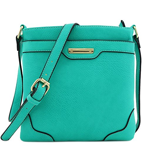 Jade Bag - Women's Medium Size Solid Modern Classic Crossbody Bag with Gold Plate (Jade)