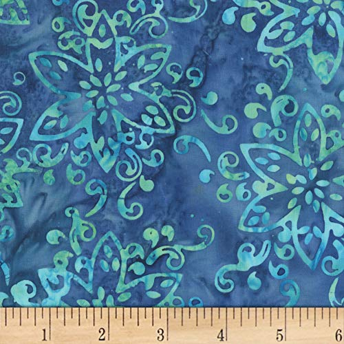 Anthology Batiks Jacqueline de Jonge Magical Giggles Floral Blue Fabric Fabric by the - Giggles Fabric Medium