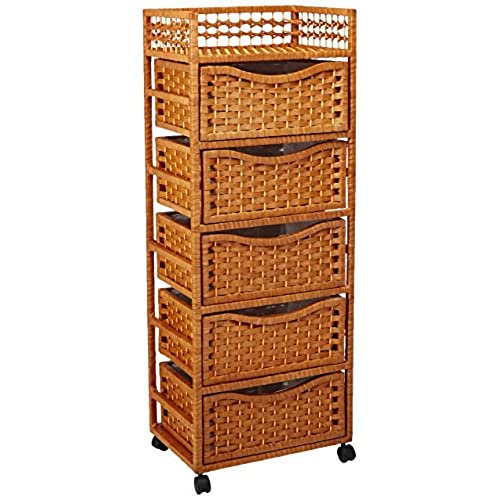 Oriental Furniture 46  Natural Fiber Chest of Drawers on Wheels - Honey  sc 1 st  Amazon.com & Tall Storage Chest of Drawers: Amazon.com
