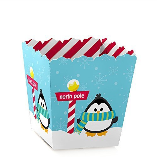 Holly Jolly Penguin - Holiday Party Candy Boxes Party Favors (Set of 12)