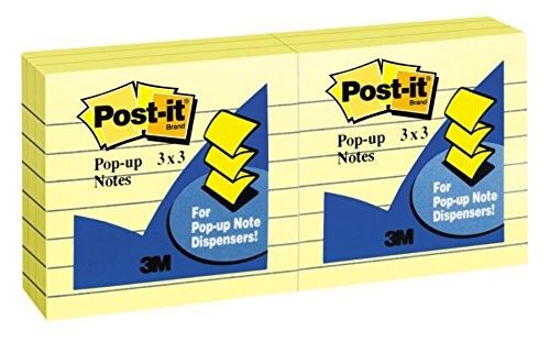 R335YW Original Canary Yellow Pop-Up Refill, Lined, 3 x 3, 100-Sheet (Pack of 6) ()