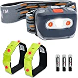 LED Headlamp Flashlight+ 2x Safety Armbands for Running, Camping, Reading, Kids, DIY & More - Super Bright, Lightweight & Comfortable - Headlamps come with Batteries
