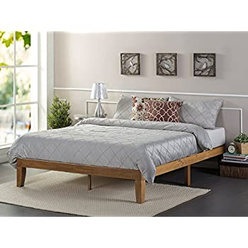 zinus 12 inch wood platform bed no boxspring needed wood slat support rustic pine finish twin