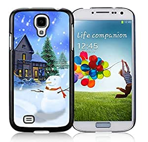 linJUN FENG2014 Latest Samsung S4 TPU Protective Skin Cover Christmas Snowman Black Samsung Galaxy S4 i9500 Case 22