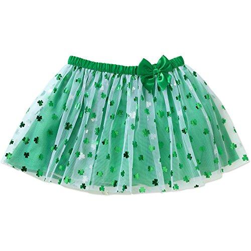 Toddler Little Girls St Patrick's Day Green Shamrock Tutu Skirt