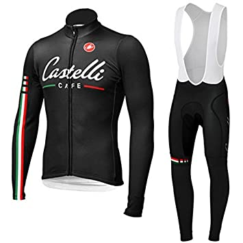 Castelli winter thermal fleece long sleeve cycling Cycling Jersey Bib Pants  Set Cycling Jersey (XXL 48b8a79bb