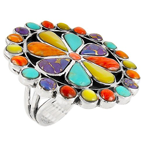 Turquoise Ring Sterling Silver 925 & Genuine Spiny & Gemstones (SELECT color) (Bold Flower R2044, 8)