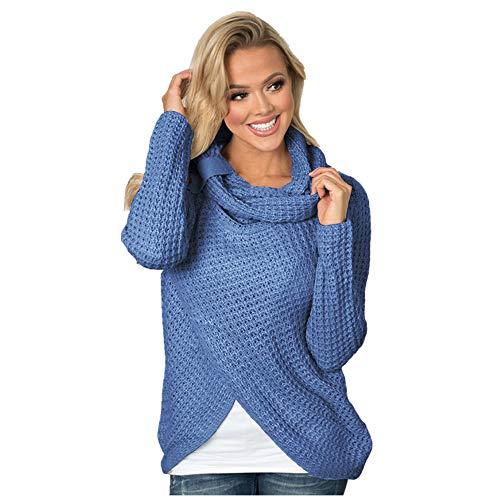 1e1fbf34b18 HaoKe Winter Women Knit Sweater Buttons Loose Cardigan Coat Warm High  Collar Irregular Sweater