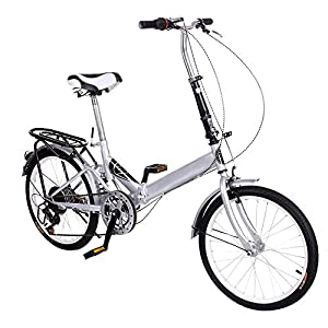 Binxin 20'' Folding Bike 6 Speed Foldable Storage Bicycle College School Sports