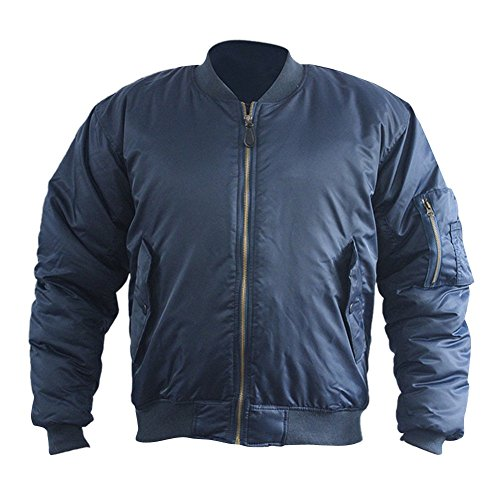 LETSQK Men's Thick MA-1 Air Force Solid Classic Flight Bomber Jacket Blue L