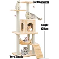 Cat Tree Tower Cat Tree House Cat Tree Condo Cat Scratcher 4.1ft (125cm) for Kittens Pet House Play,Wood Rattan Pet Supplies with Versatile Safe Bed Easy to Assemgbly, Khaki